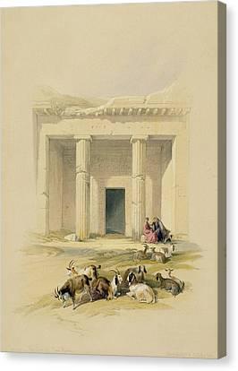 Entrance To The Caves Of Bani Hasan Canvas Print by David Roberts