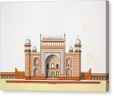Entrance To The Taj Mahal Canvas Print by German School