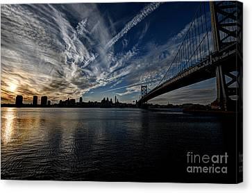 Entropy - Philly Skyline And The Ben Franklin Bridge Canvas Print by Mark Ayzenberg