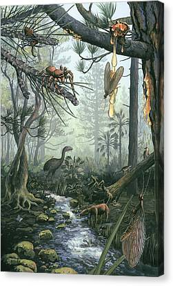 Eocene Forest Landscape, Artwork Canvas Print by Science Photo Library