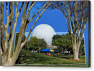 Epcot Globe 02 Canvas Print by Thomas Woolworth