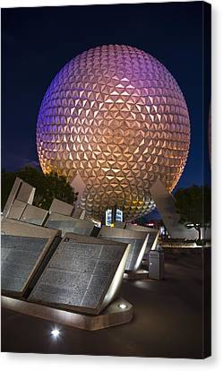 Epcot Spaceship Earth Canvas Print by Adam Romanowicz