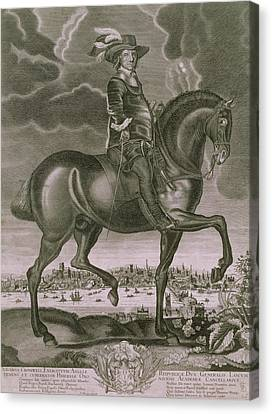 Equestrian Portrait Of Oliver Cromwell  Canvas Print by Albert Haelwegh