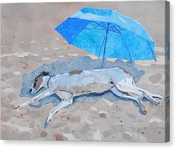 Eric At The Beach Canvas Print by Alyson Champ