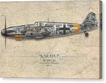 Erich Hartmann Messerschmitt Bf-109 - Map Background Canvas Print by Craig Tinder