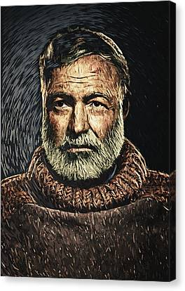 Ernest Hemingway Canvas Print by Taylan Soyturk