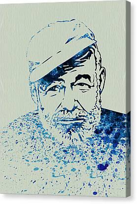 Ernest Hemingway Watercolor Canvas Print by Naxart Studio