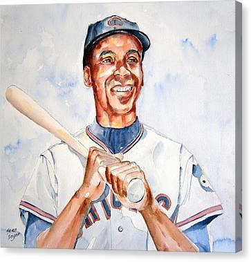 Ernie Banks Canvas Print by Brian Degnon
