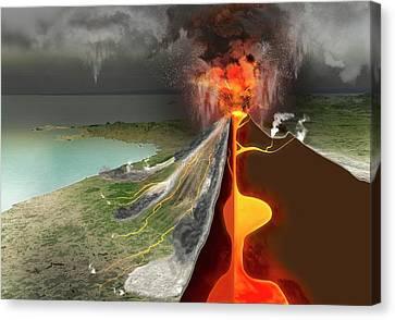 Eruption Of Mount Vesuvius Canvas Print by Claus Lunau