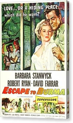 Escape To Burma, Us Poster, From Left Canvas Print by Everett