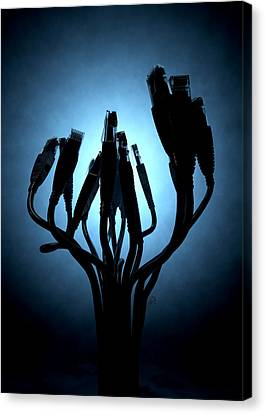 Ethernet Abstract Silhouettes Canvas Print by Allan Swart
