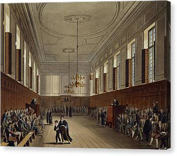 Eton School Room, From History Of Eton Canvas Print by Augustus Charles Pugin