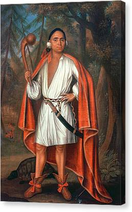 Etow Oh Koam, King Of The River Nations, 1710 Oil On Canvas Canvas Print by Johannes or Jan Verelst