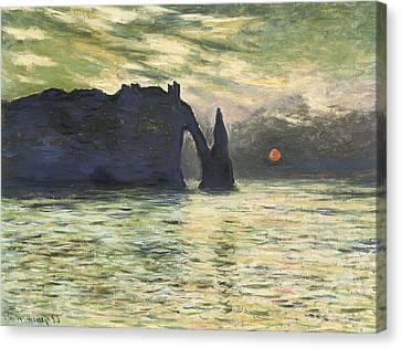 Etretat Sunset Canvas Print by Claude Monet