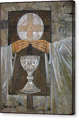 Eucharist Canvas Print by Mary jane Miller