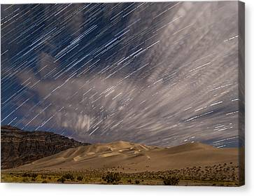 Eureka Dunes Star Trails Canvas Print by Cat Connor