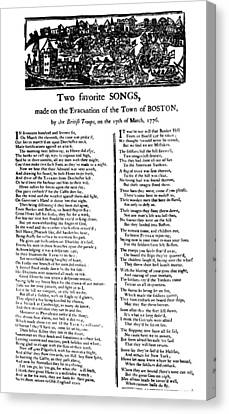 Evacuation Of Boston, 1776 Canvas Print by Granger