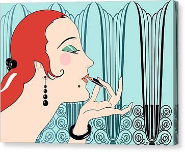 Eve In Aqua And Teal Canvas Print by Nancy Lorene