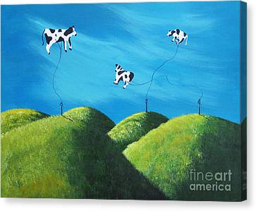 Even Cows Have Strange Dreams By Shawna Erback Art Canvas Print by Shawna Erback