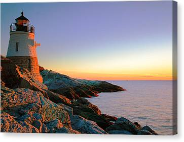 Evening Calm At Castle Hill Lighthouse Canvas Print by Roupen  Baker