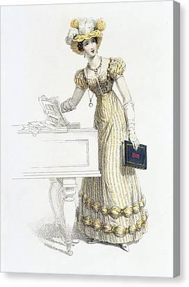 Evening Dress, Fashion Plate Canvas Print by English School