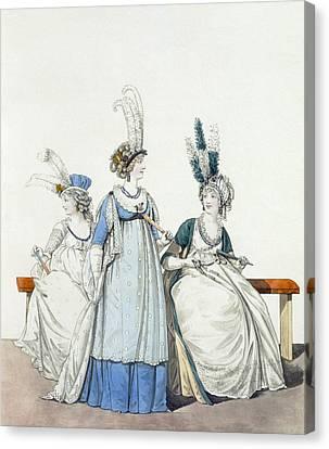 Evening Dresses For The Opera Canvas Print by Nicolaus von Heideloff