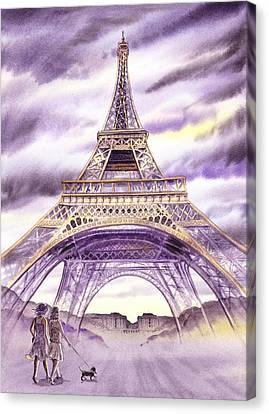 Evening In Paris A Walk To The Eiffel Tower Canvas Print by Irina Sztukowski
