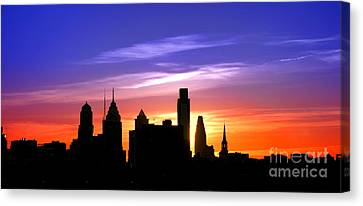 Evening In Philly Canvas Print by Olivier Le Queinec