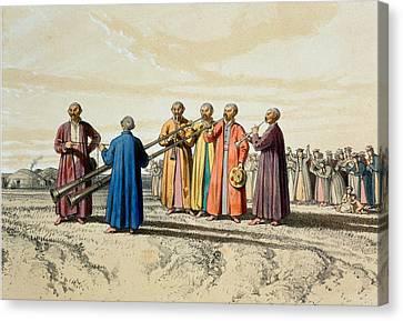 Evening Prayer Among The Kalmuks, Using Canvas Print by Francois Fortune Antoine Ferogio