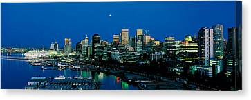Evening Skyline Vancouver British Canvas Print by Panoramic Images