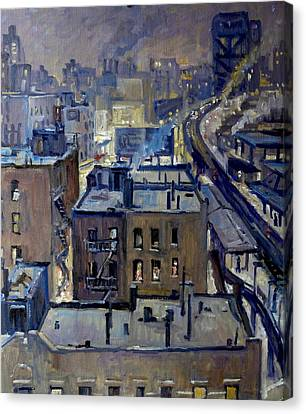Evening Snow On Broadway Nyc Canvas Print by Thor Wickstrom
