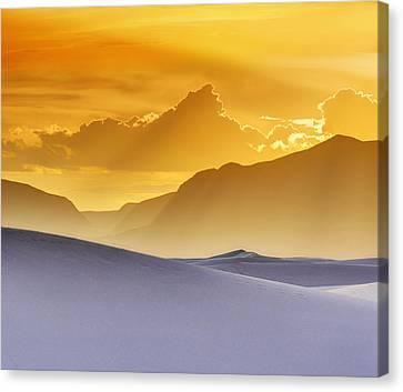 Evening Stillness - White Sands Sunset - Duvet Canvas Print by Nikolyn McDonald
