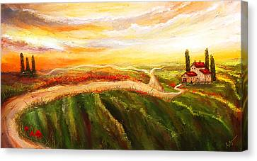 Evening Sun - Glowing Tuscan Field Paintings Canvas Print by Lourry Legarde
