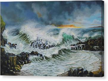 Evening Surf At Castlerock Canvas Print by Barry Williamson