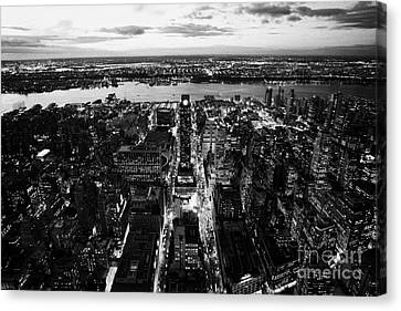 Evening View Of Manhattan West Towards Hudson River And One Penn Plaza Night New York City Canvas Print by Joe Fox
