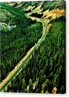 Evergreen Highway Canvas Print by Benjamin Yeager