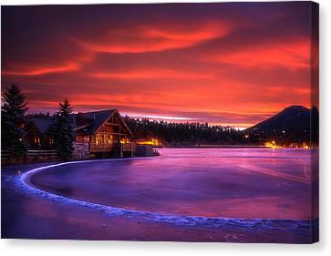 Evergreen Lake Sunrise Canvas Print by Darren  White