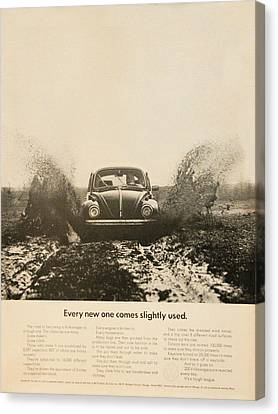 Every New One Comes Slightly Used - Vintage Volkswagen Advert Canvas Print by Georgia Fowler