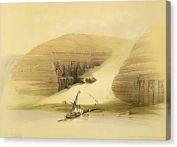 Excavated Temple Of Abu Simbel Canvas Print by David Roberts