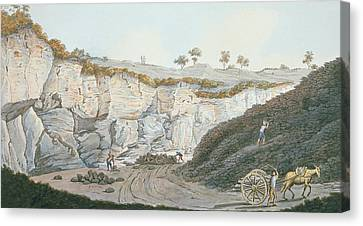 Excavations Of A Thick Stratum Of Lava Canvas Print by Pietro Fabris