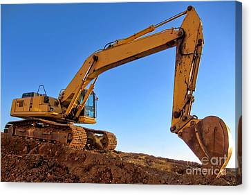Excavator Canvas Print by Olivier Le Queinec