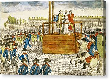 Execution Of Marie-antoinette 1755-93 In The Place De La Revolution, 16th October 1793 Coloured Canvas Print by French School