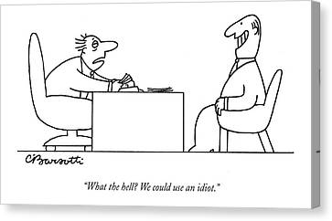 Exhausted Businessman Hires An Exaggeratedly Canvas Print by Charles Barsotti