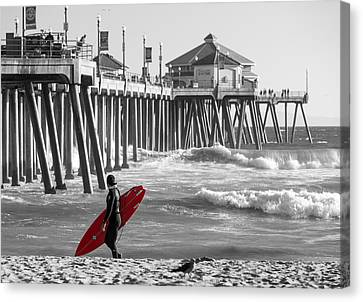 Existential Surfing At Huntington Beach Selective Color Canvas Print by Scott Campbell
