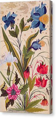 Exotic Flowers With Insects Canvas Print by Mughal School