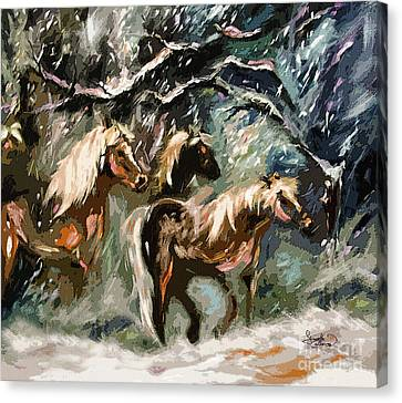 Expressive Haflinger Horses In Snow Storm Canvas Print by Ginette Callaway