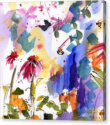 Expressive Watercolor Flowers And Bees Canvas Print by Ginette Callaway
