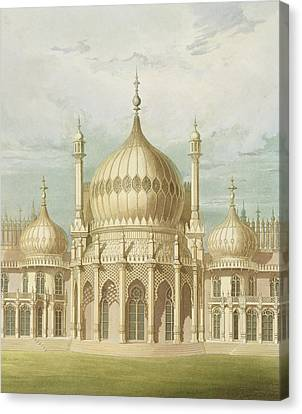 Exterior Of The Saloon From Views Of The Royal Pavilion Canvas Print by John Nash