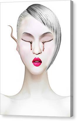 Eye And Zipper Canvas Print by Yosi Cupano