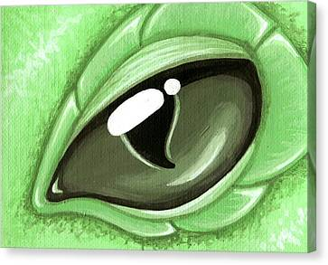 Eye Of The Mint Green Dragon Hatchling Canvas Print by Elaina  Wagner